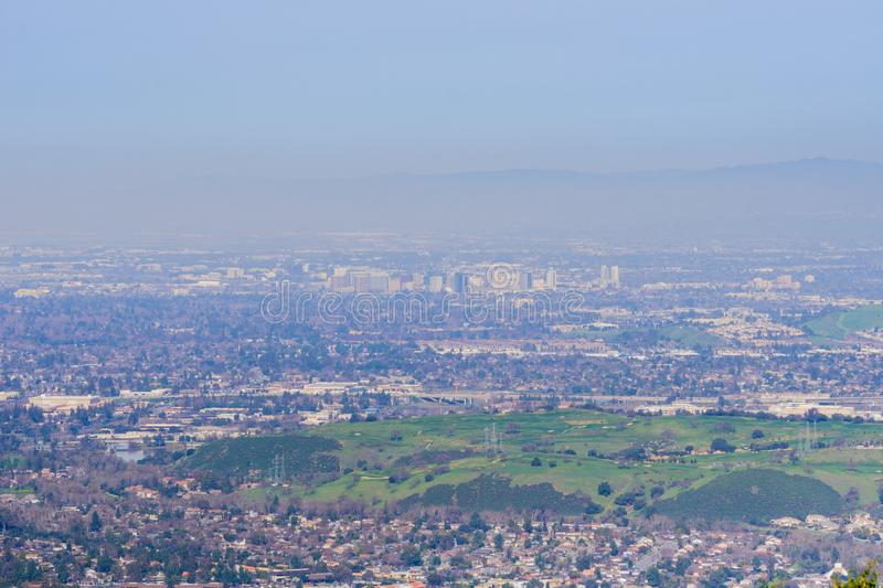 View towards the financial district in San Jose from the hills of Almaden Quicksilver County Park, south San Francisco bay,. California royalty free stock images