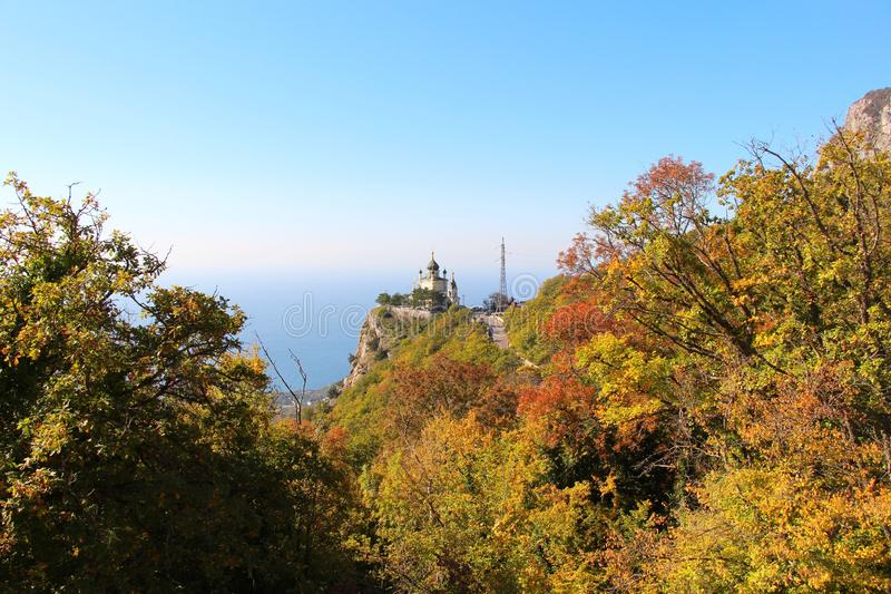 View of Foros Church through the autumn forest royalty free stock photo