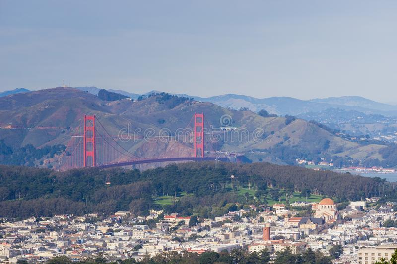 View towards Golden Gate Bridge and the surrounding park and residential area, San Francisco, California stock photography