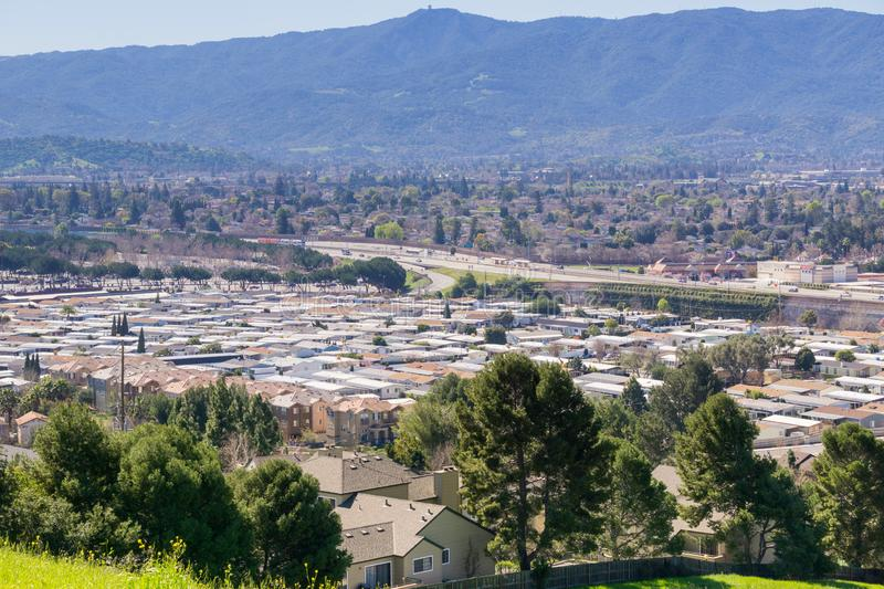 View towards Guadalupe Freeway and Almaden Valley from Communications Hill, San Jose, California stock photography