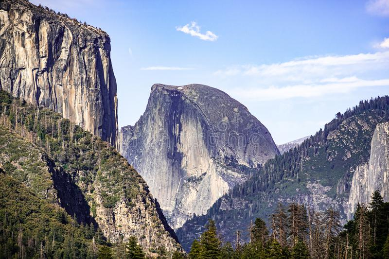 View towards Half Dome; El Capitan visible on the left; Yosemite National Park, California royalty free stock photography