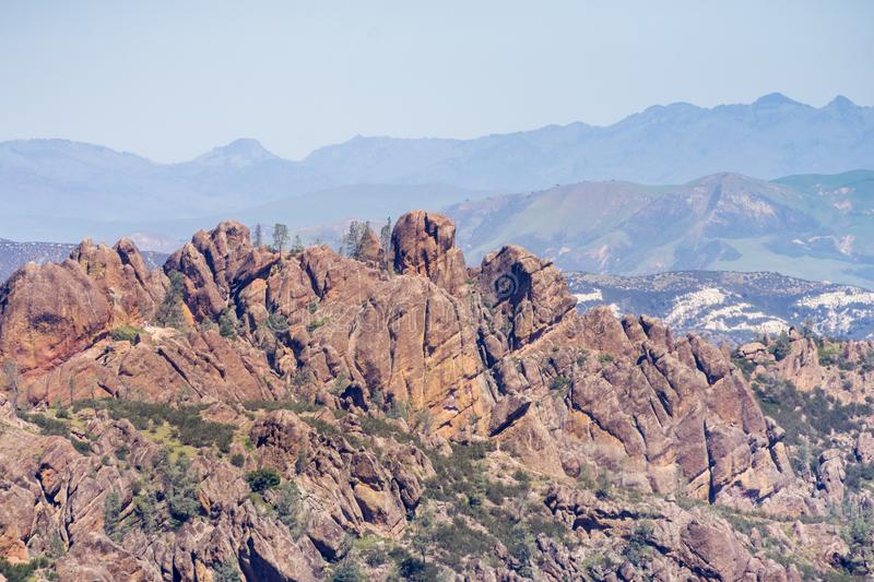 View towards High Peaks, Pinnacles National Park, California royalty free stock photography