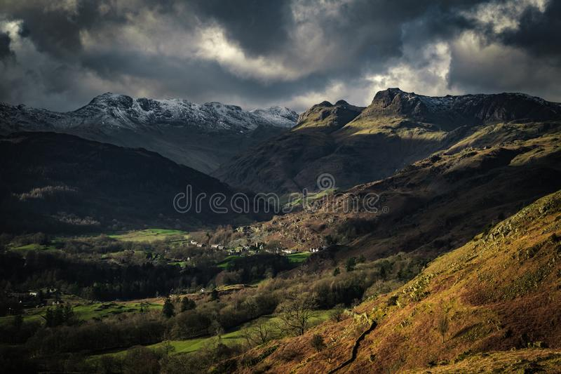 View towards the Langdale Pikes from Loughrigg Fell. English Lake District stock photo