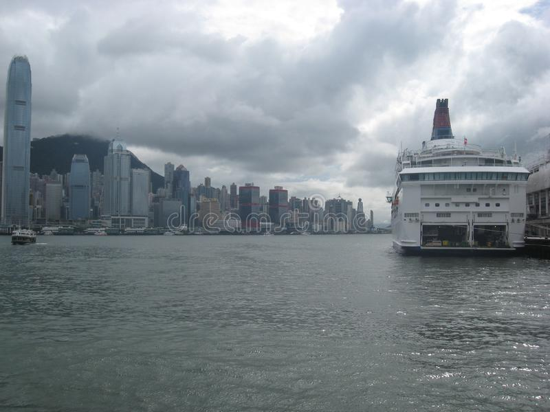 View from the cruise ship terminal, Tsim Sha Tsui, Kowloon, Hong Kong stock photos