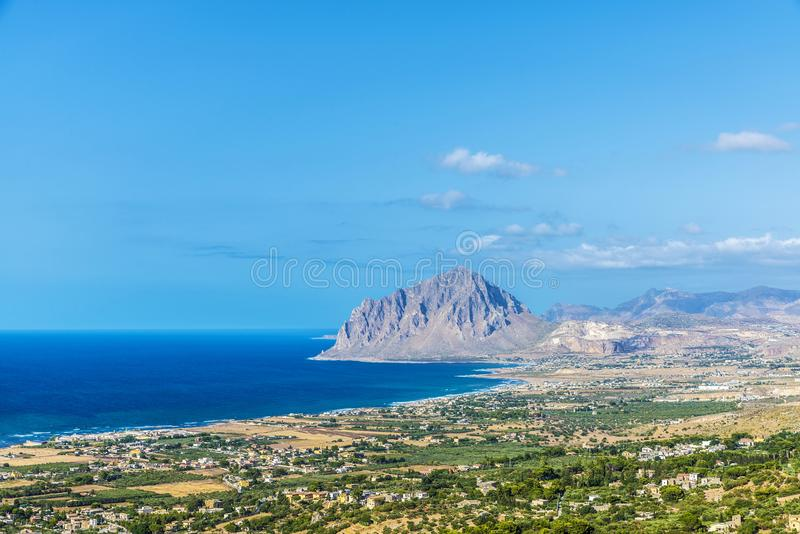 View towards Monte Cofano in Erice, Sicily, Italy. View towards Monte Cofano from the historic village of Erice in Sicily, Italy stock photo