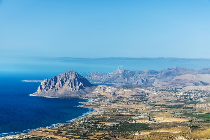 View towards Monte Cofano in Erice, Sicily, Italy. View towards Monte Cofano from the historic village of Erice in Sicily, Italy royalty free stock images