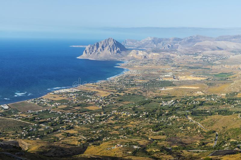 View towards Monte Cofano in Erice, Sicily, Italy. View towards Monte Cofano from the historic village of Erice in Sicily, Italy stock photography