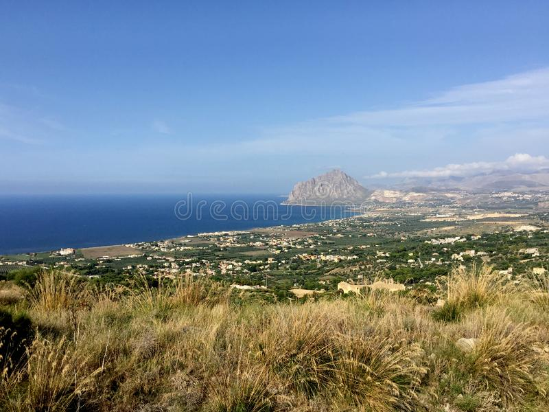 Trapani, Erice, Sicily, mount Cofano. View towards Monte Cofano from the historic village of Erice in Sicily, Trapani, Italy stock image