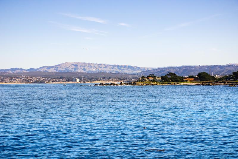 View towards Monterey bay from Lovers Point, Pacific Grove, California stock images
