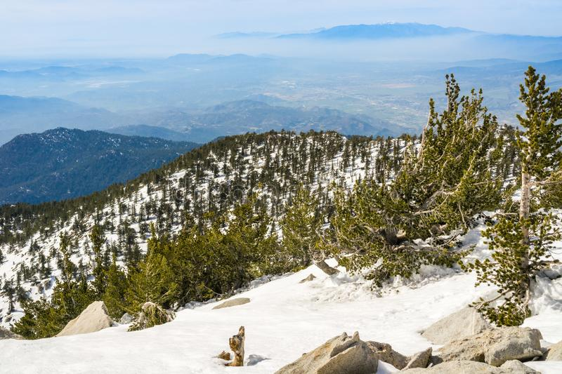 View towards Moreno Valley from Mount San Jacinto peak, California royalty free stock images