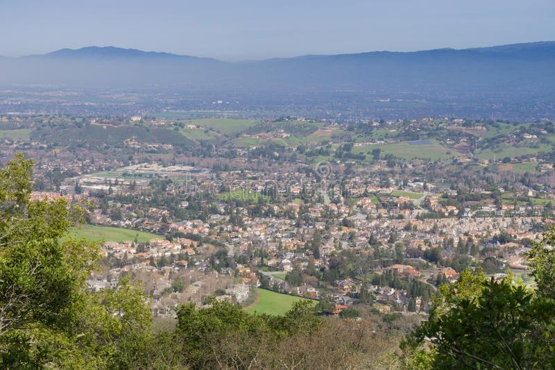 View towards a residential neighborhood in San Jose from the hills of Almaden Quicksilver County Park, south San Francisco bay,. California royalty free stock photography
