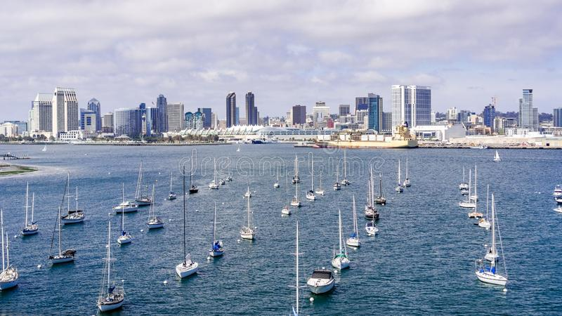 View towards San Diego`s downtown area, ships moored in San Diego Bay on the forefront, south California stock photo