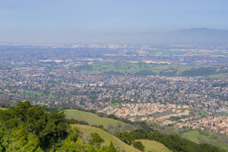 View towards San Jose from the hills of Almaden Quicksilver County Park, south San Francisco bay, California stock photos