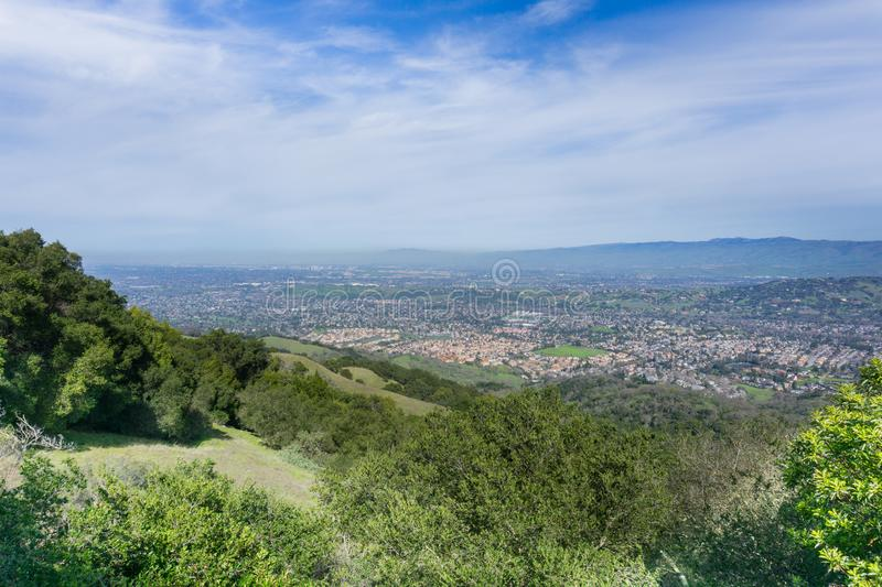 View towards San Jose from the hills of Almaden Quicksilver County Park, south San Francisco bay, California royalty free stock image
