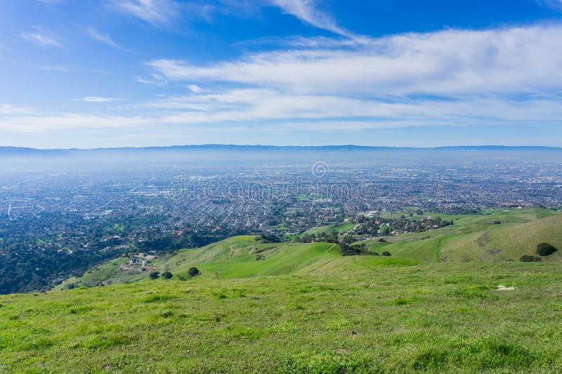 View towards San Jose from the hills of Sierra Vista Open Space Preserve, south San Francisco bay, California royalty free stock photo