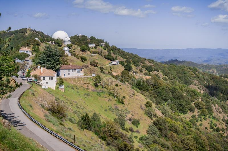 View towards Shane Observatory and the Automated Planet Finder telescope, Mt Hamilton, San Jose, San Francisco bay area,. California stock photo