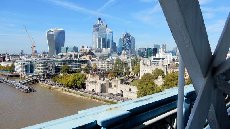Tower Bridge view at Tower of London, skyscrapers and River Thames stock photos