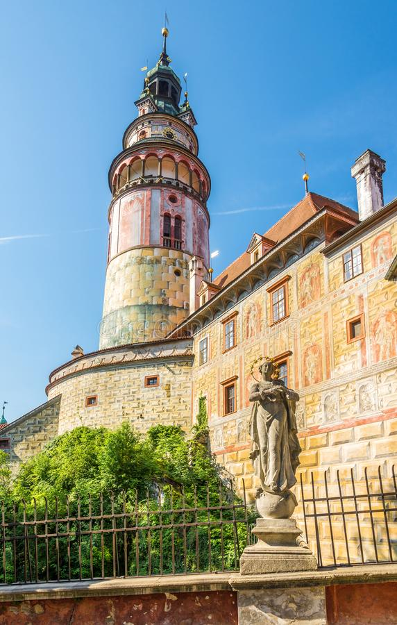 View at the Tower of Castle Cesky Krumlov in Czech Republic. View at the Tower of Castle Cesky Krumlov - Czech Republic stock images