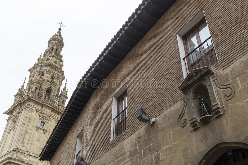 Tower of the Cathedral of Santo Domingo de la Calzada, Rioja, Sp. View of the tower of the Cathedral of Santo Domingo de la Calzada, next to the side facade of stock photography