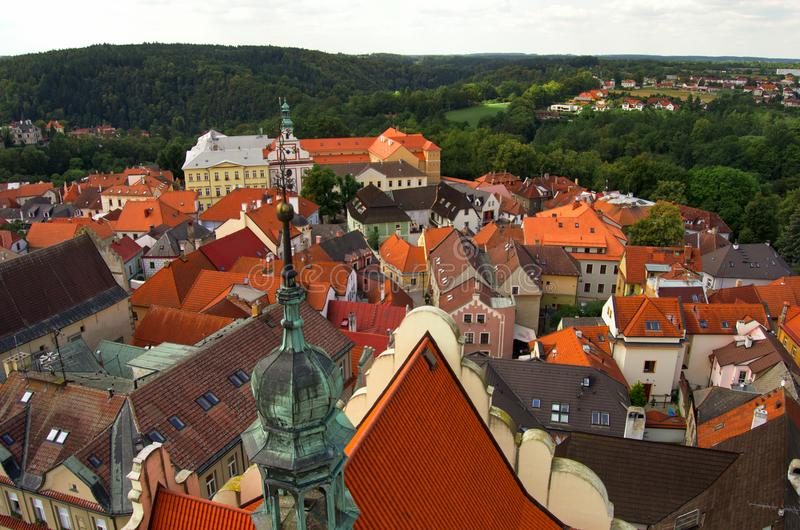 Nice view from the tower in center of Tabor, Czech Republic, August royalty free stock image