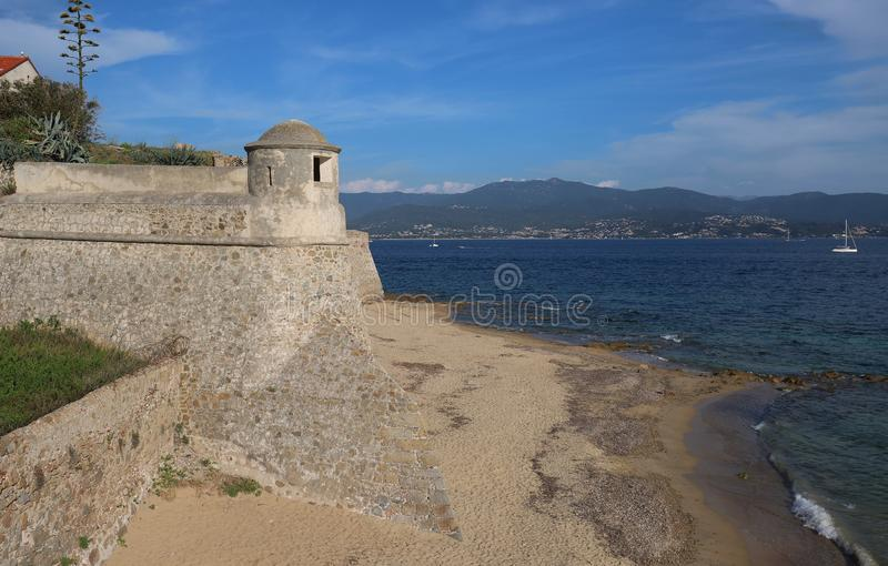 View on the tower of Citadel Miollis and the sea in Ajaccio on Corsica island, France. View on the tower of Citadel Miollis and the sea in Ajaccio, capital of stock photography