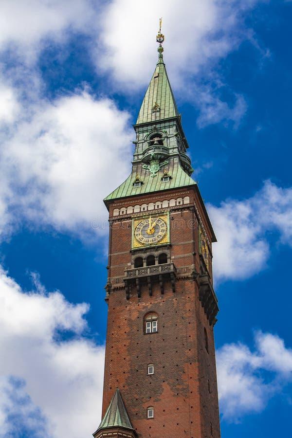 Tower on City Hall in Copenhagen, Denmark stock photos