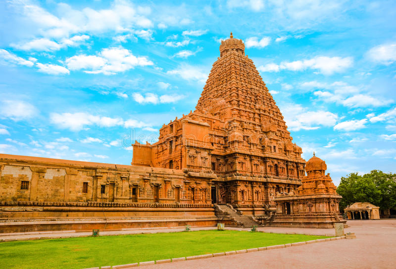 View at the tower Hindu Brihadishvara Temple, India, Tamil Nadu, Thanjavour, (Trichy), panorama royalty free stock photo
