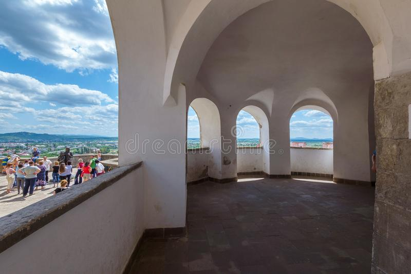 View from the tower of the Mukachevo castle on the city and on the terrace stock photography