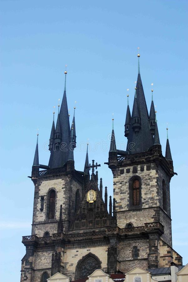 The view of the tower of the Tyn Church in Prague royalty free stock images