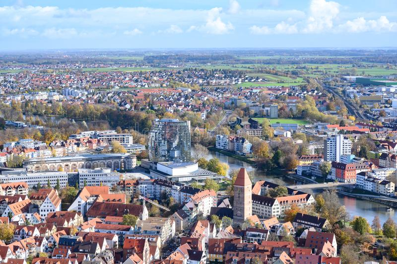 View from Tower of Ulm Minster to twin cities: City of Ulm - Baden-Wuerttemberg - and Neu Ulm - Bavaria -  River Danube, Germany stock photo