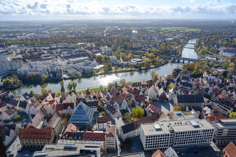 View from Tower of Ulm Minster to twin cities: City of Ulm - Baden-Wuerttemberg - and Neu Ulm - Bavaria -  River Danube, Germany stock photos