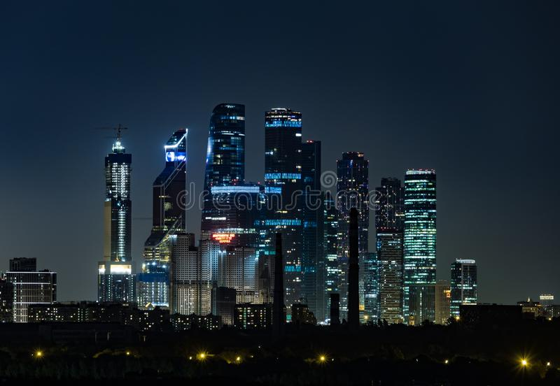 View of the towers of the business center Moscow City at night. 2018 stock photos