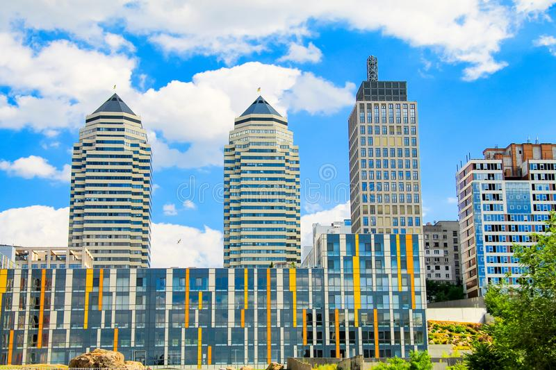 View of the towers and skyscrapers in the center of the Dnipro city, Ukraine stock photography