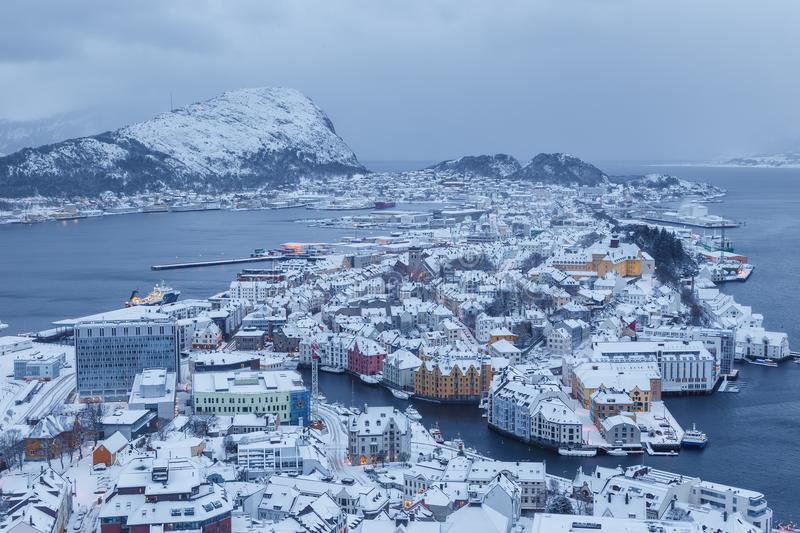 View of the town of Alesund during sunrise from Aksla hill. It is a sea port and is noted for its concentration of Art Nouveau architecture stock photos