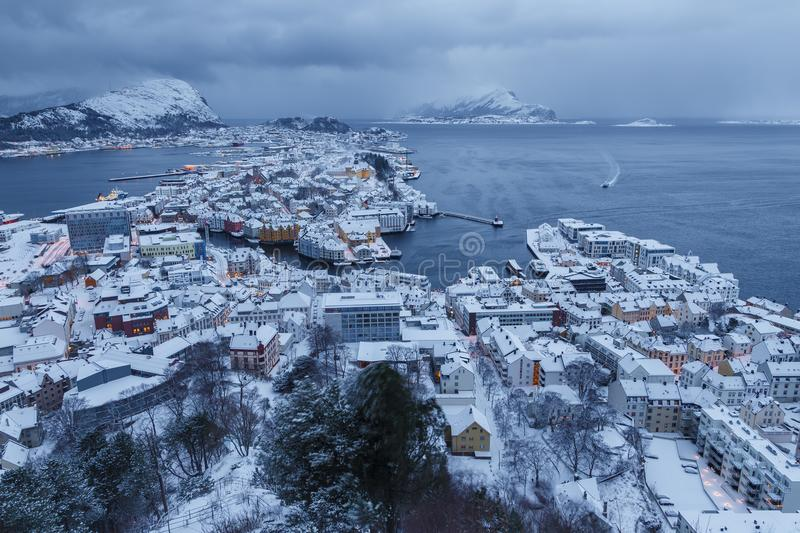 View of the town of Alesund during sunrise from Aksla hill. It is a sea port and is noted for its concentration of Art Nouveau architecture stock photo
