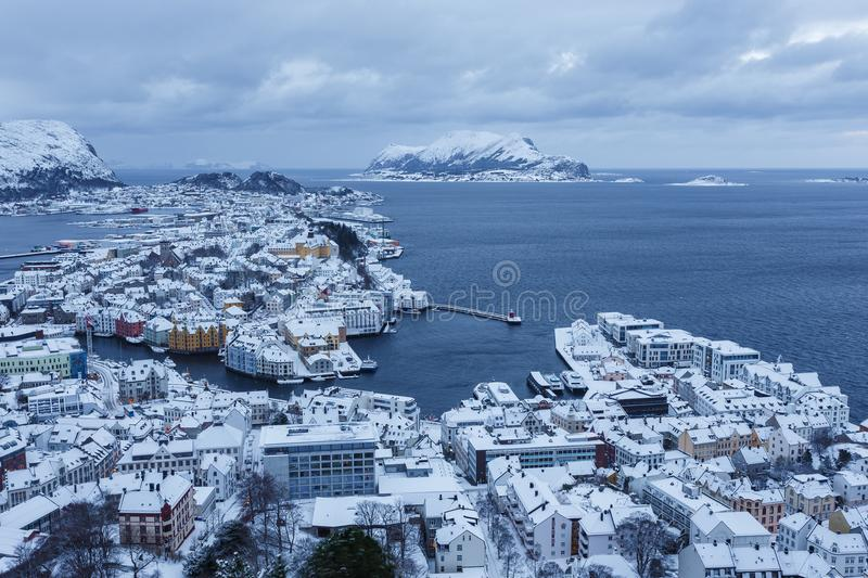 View of the town of Alesund during sunrise from Aksla hill. It is a sea port and is noted for its concentration of Art Nouveau architecture stock image