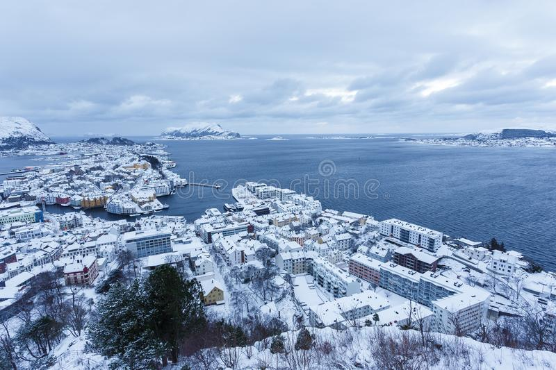 View of the town of Alesund during sunrise from Aksla hill. It is a sea port and is noted for its concentration of Art Nouveau architecture royalty free stock photography