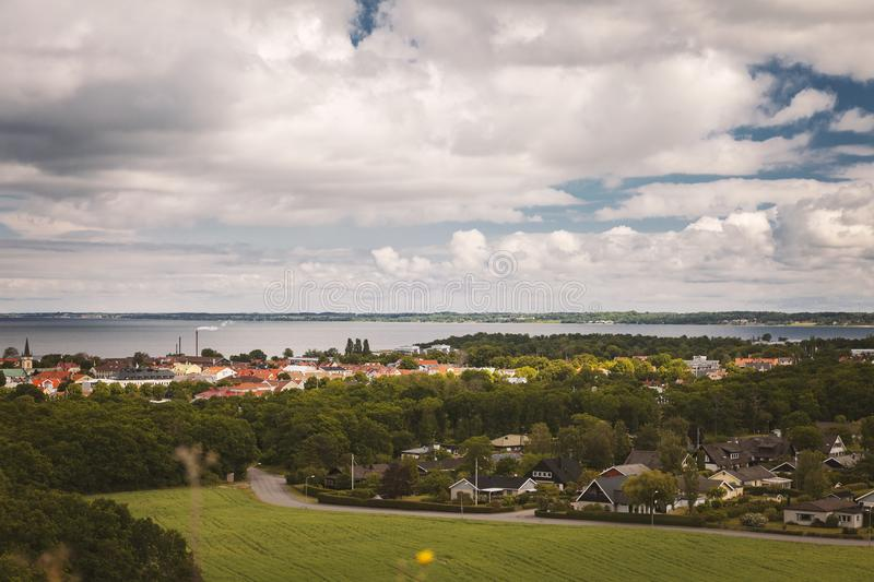 Borgholm town view. View of the town of Borgholm, on the swedish island of Oland royalty free stock photo