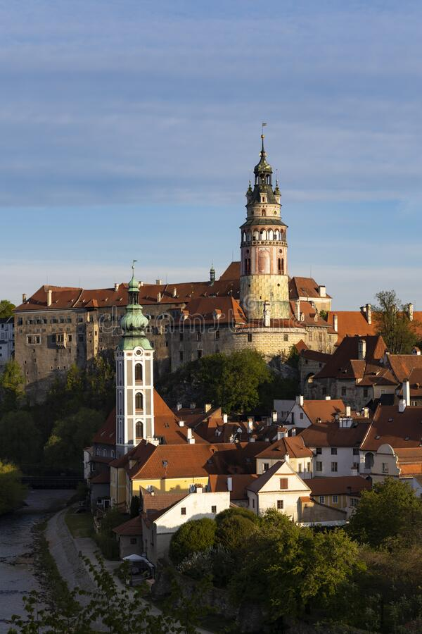 View of the town and castle of Czech Krumlov, Southern Bohemia, Czech Republic royalty free stock photos