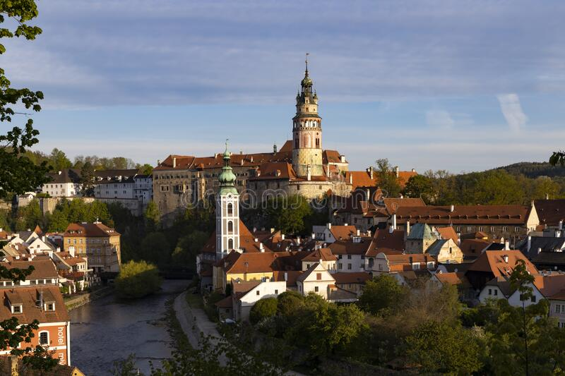 View of the town and castle of Czech Krumlov, Southern Bohemia, Czech Republic stock image