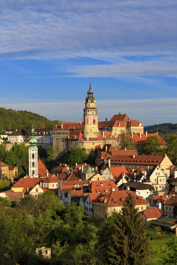 View of the town and castle of Czech Krumlov, Southern Bohemia, Czech Republic stock photography