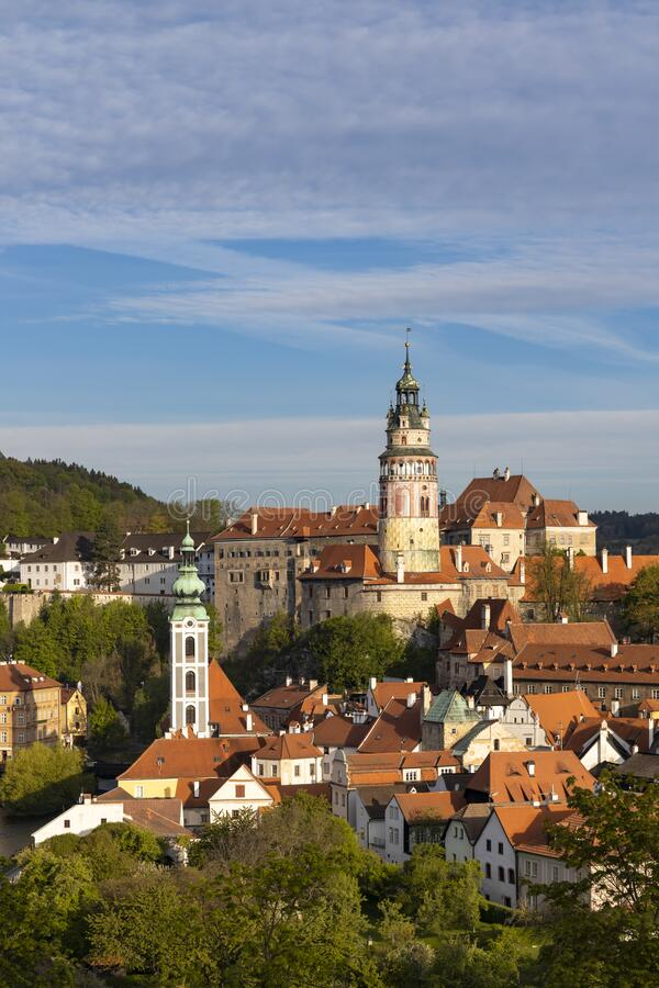 View of the town and castle of Czech Krumlov, Southern Bohemia, Czech Republic royalty free stock images