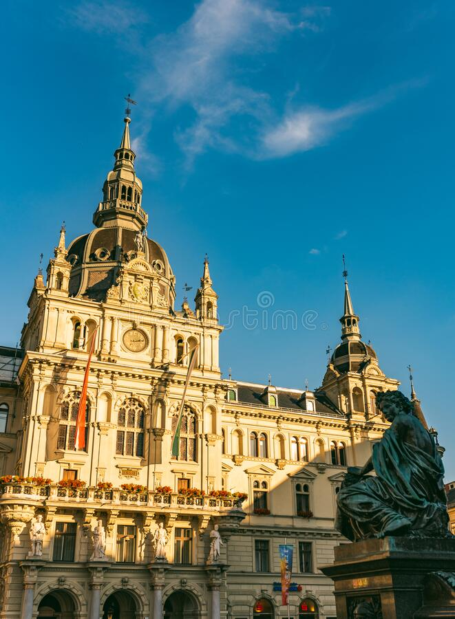 View on the town hall from the city square in Graz city royalty free stock photography