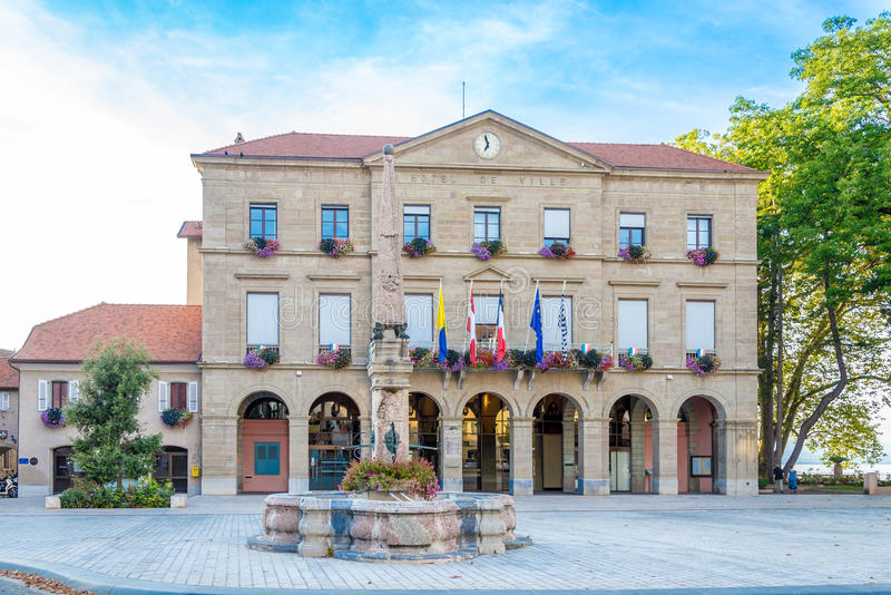 View at the Town hall in Thonon les Bains - France stock image
