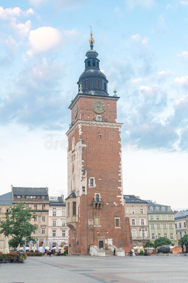 View of Town Hall Tower at Main Market Square in the Old Town of Kakow stock images