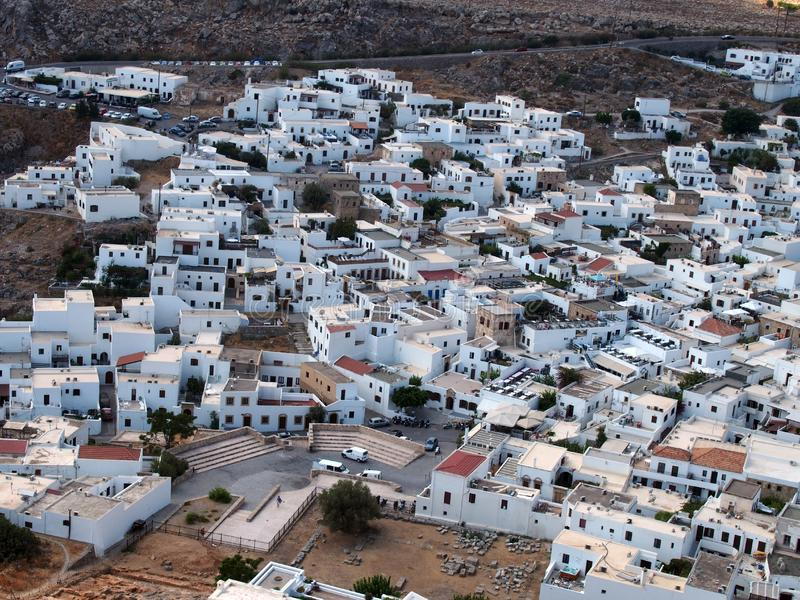 View of the town of lindos in rhodes greece from above. View of the town of lindos in rhodes greece from the air royalty free stock photos