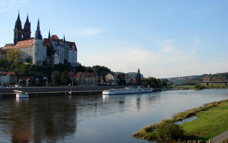 View of the town of Meissen over Elbe river royalty free stock images