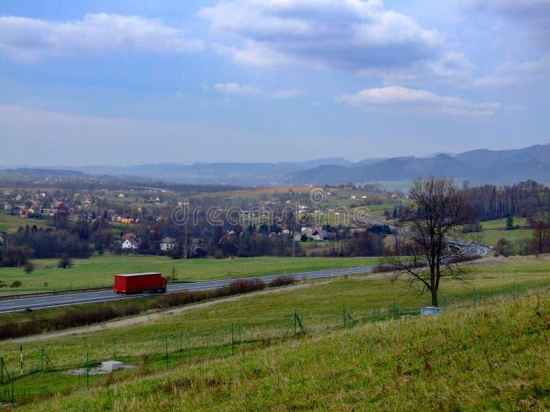 View on town of Mosty u Jablunkova and Silesian Beskid in Czechia. View on town of Mosty u Jablunkova near Slovakian border and Silesian Beskids mountain range royalty free stock photo