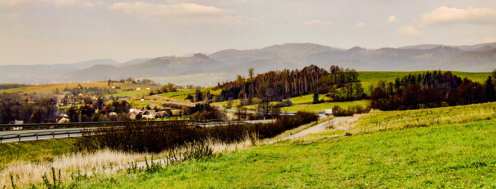 View on town of Mosty u Jablunkova and Silesian Beskids in Czechia. View on town of Mosty u Jablunkova near slovakian border and Silesian Beskids mountain range royalty free stock images