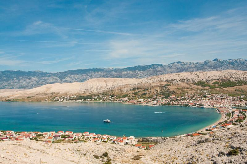 View of the town of Pag, island of Pag, Croatia stock image